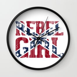 Rebel Girl Vintage Southern Confederate Flag Wall Clock