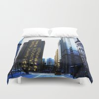 pittsburgh Duvet Covers featuring Pittsburgh street by 100 Watt Photography