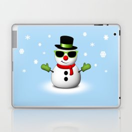Cool Snowman with Shades and Adorable Smirk Laptop & iPad Skin