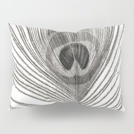Black and White Peacock Feather Pillow Sham