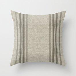 Farmhouse linen beige rustic grain sack texture vintage farmhouse lined linen design modern rustic Throw Pillow