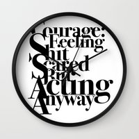 courage Wall Clocks featuring Courage by blugge