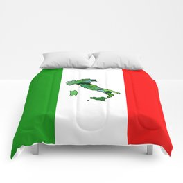 Map of Italy and Italian Flag Comforters