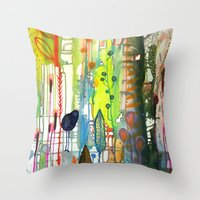 la Throw Pillows featuring la traverse by sylvie demers