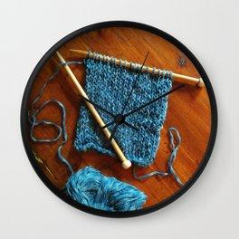 knitting photo, denim, denim photo, blue, wood, knitting, knit, brown, Wall Clock