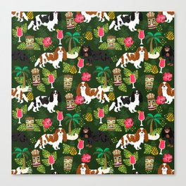Cavalier King Charles Spaniel tiki hawaiian island tropical dog breed pattern dogs Canvas Print