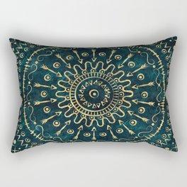 Geometric tribal gold mandala Rectangular Pillow