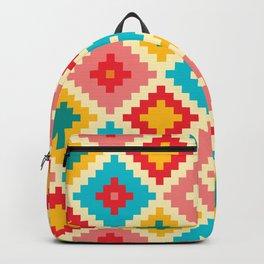 Red Yellow And Pink Diamond Pattern Stylish Native Aztec Backpack