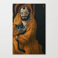 gustav klimt Canvas Prints featuring Gustav Klimt & Cat by Theodore Taylor III