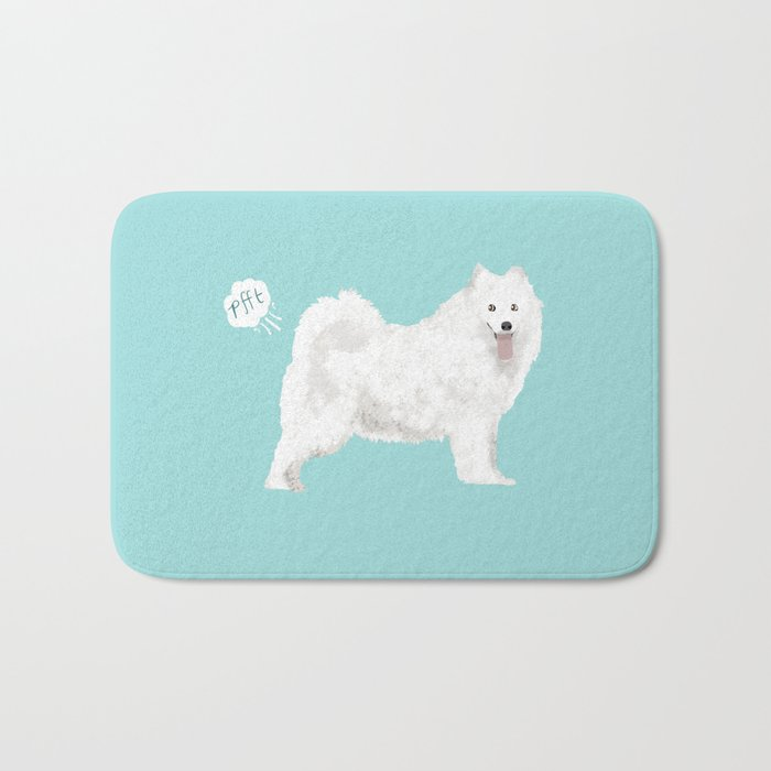samoyed funny farting dog breed pure breed pet gifts Bath Mat by petfriendly | Society6