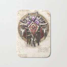 Horde crest sigil symbol wow da vinci style artwork Bath Mat