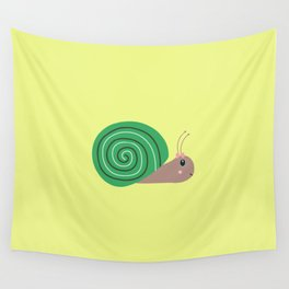 Cute green Snail T-Shirt for Women, Men and Kids Wall Tapestry