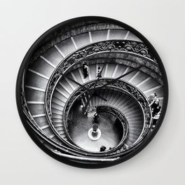 Sublime Spiral Staircase, Vatican, Rome, Italy black and white photograph Wall Clock