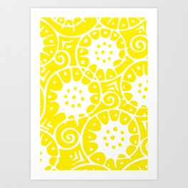 Lemon Swirl Pattern | Swirl Pattern | Abstract Patterns | Yellow and White | Art Print