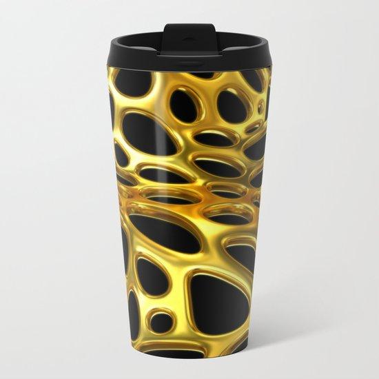 Voronoi Gold Surface Metal Travel Mug
