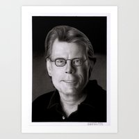 stephen king Art Prints featuring Stephen King by Giampaolo Casarini