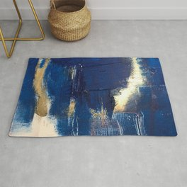 Halo [2]: a minimal, abstract mixed-media piece in blue and gold by Alyssa Hamilton Art Rug