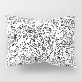 Modern black white hand drawn floral Pillow Sham