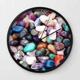 Polished Coloured Gemstones Wall Clock