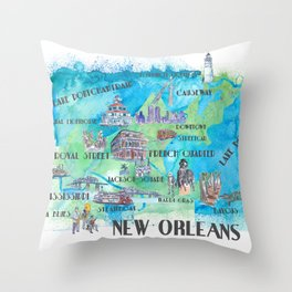 New Orleans Louisiana Favorite Travel Map with Touristic Highlights in colorful retro print Throw Pillow