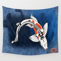 koi fish Wall Tapestries featuring Koi Fish by Nerd Artist DM