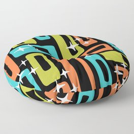 Retro Mid Century Modern Abstract Pattern 222 Orange Chartreuse Turquoise Floor Pillow