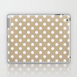 Small Polka Dots - White on Khaki Brown Laptop & iPad Skin