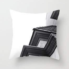 buildings in the city in black and white Throw Pillow