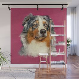 Australian Shepherd - Blue Merle Watercolor Digital Art Wall Mural