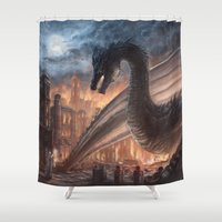 skyrim Shower Curtains featuring Elegy of Fire by Liancary