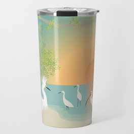Egrets on a Sunset Beach Travel Mug