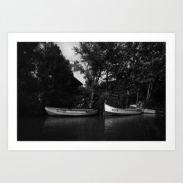 Boats on the river and a countryside farmhouse - Fine art photography Art Print