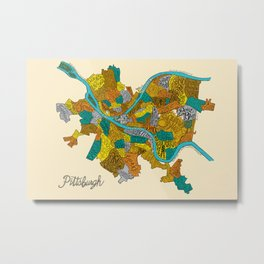 Pittsburgh Neighborhoods Metal Print