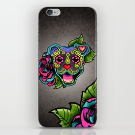 Smiling Pit Bull in Blue - Day of the Dead Pitbull Sugar Skull iPhone Skin