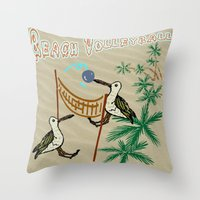 volleyball Throw Pillows featuring Beach Volleyball by Wired Circuit