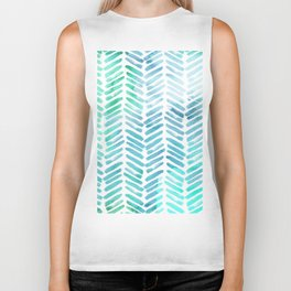 Handpainted Chevron pattern - light green and aqua - stripes Biker Tank