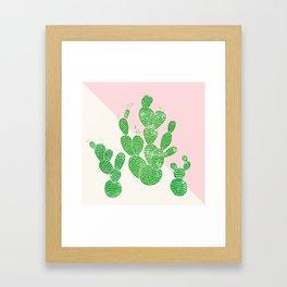 Linocut Cacti Family Framed Art Print