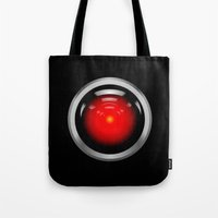 2001 a space odyssey Tote Bags featuring HAL 9000 from 2001: A Space Odyssey by TOM / TOM