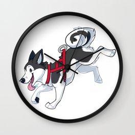 Grey Husky Running Wall Clock