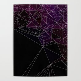 Polygonal purple, black and white Poster