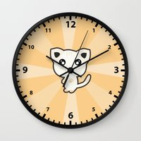 kawaii Wall Clocks featuring Kawaii Cat by Nir P