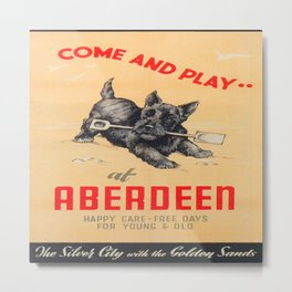 Aberdeen, Scotland Vintage Travel Poster Metal Print