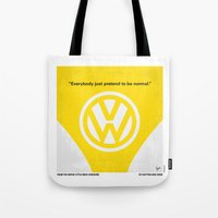 nietzsche Tote Bags featuring No103 My Little Miss Sunshine movie poster by Chungkong