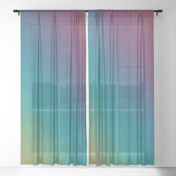 Bohek Bubbles on Rainbow of Color - Ombre multi Colored Spheres Sheer Curtain