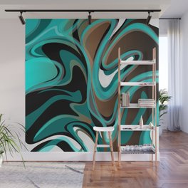 Liquify - Brown, Turquoise, Teal, Black, White Wall Mural