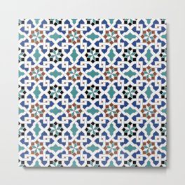 Geometric Pattern - Oriental Design Pt. 7x - seamless design ,blue, green Metal Print