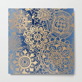 Blue and Gold Mandala Pattern Metal Print