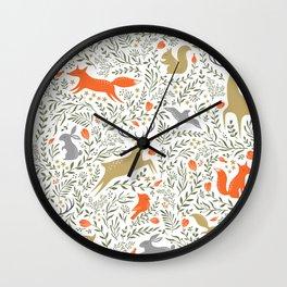 Woodland Animals Folk Wall Clock