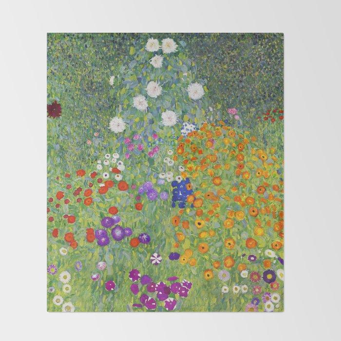 Flower Garden - Gustav Klimt Throw Blanket