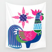 oriental Wall Tapestries featuring Oriental rooster by wonman kim